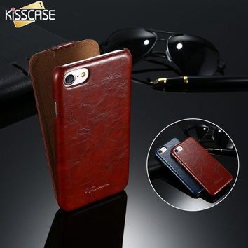 KISSCASE Luxury PU Leather Phone Cases For iPhone 6 6s Plus 7 7 Plus 5 5s SE Retro Flip Cover Case For iPhone 7 7 Plus 6 6s Plus