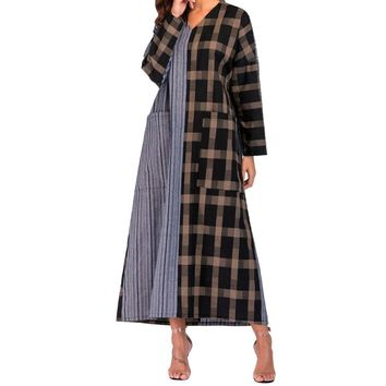2018 hot sales women clothing Striped Plaid Kaftan Autumn Winter Long Sleeve Thin Cotton Loose Long Bohe Pockets Dress