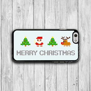 Pixel Case Santa Claus Christmas Tree Reindeer 8 Bit iPhone Case iPhone 6/6S 5/5S 4/4S iPhone 5C Merry Christmas Electronics Cases 2016 Gift