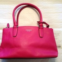 Coach 48016 Legacy Leather Mini Rory Hand Bag Purse Satchel Fuchsia Hot Pink