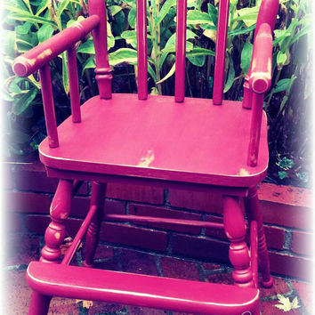 Vintage Upcycled rustic distressed red high chair, painted furniture, country cottage, cottage chic, rustic cottage, home decor, outdoor