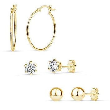 Gold over Sterling Silver Cubic Zirconia Ball & Hoop 3 Pair Earring Set