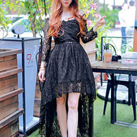 Korean Fashion Lace High-Low Night Club Dresses