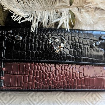 Retired Brighton Large Black Red Croc Leather Wallet w/Heart Ladybugs & Bows