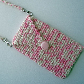 iPhone Pouch with DETACHABLE Neck Strap, Pink iPhone Sleeve, Crochet Cell Phone Case, Handspun Crochet Sleeve,  Merino Neck Strap Lanyard