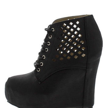 VICKY3 BLACK LASER CUT WEDGE BOOT
