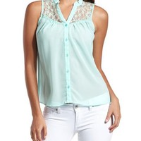 Lace Yoke Button-Down Top: Charlotte Russe