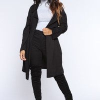 Vikki Draw String Waist Jacket - Black