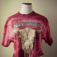 90s Sturgis distressed t shirt vintage worn in crop tee cut off bleached hippie boho biker top size large oversized GRUNGE cropped t-shirt