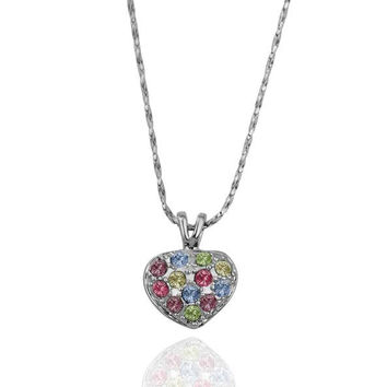 White Gold Petite Heart Shaped with Rainbow Crystal Necklace