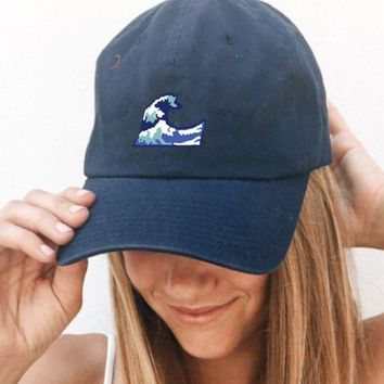 LMFON The waves of the sea BAD HAIR DAY Washed Cotton Adjustable Solid color Baseball Cap