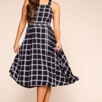 On the Breeze Navy Checked Midi Dress
