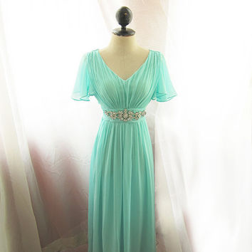 Breatfast at Tiffany's Soft Seafoam Blue Minty Green Jane Austen Alice in Wonderland Flowy Angel Marie Antoinette Vintage Embellished Gown