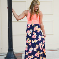 Neon Bloom Maxi Dress