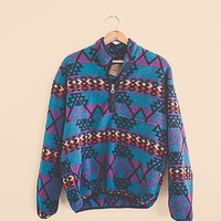 90's blue Purple aztec Tribal Fleece Winter Jacket Zip Up Cozy Christmas Sweater size Large
