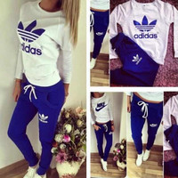 Adidas Top Sweater Sweatshirt Pants Trousers Sweatpants Set Two-Piece Sportswear