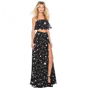 Evening Party Sexy Long Dresses White Star Print Girl Dress