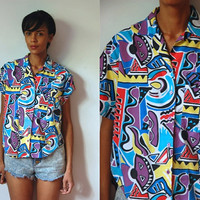 Vtg Abstract Print Colorful SS Button Up Cotton Shirt