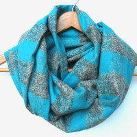 Blue Gray Buffalo Plaid Scarf // Blue Buffalo Scarf // Blue and Gray // Teal Blue Scarf // Aqua Scarf // Ocean Blue // Fall Plaid Scarf //
