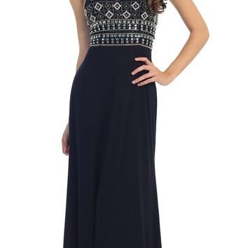 Navy Blue Halter Beaded Bodice Long Prom Dress with Cut-Out Back