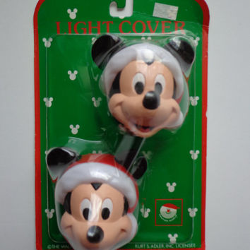 Vintage 90s Walt Disney Company by Kurt S Adler Mickey Mouse Christmas Light Covers New In Package Collectible Retro Disneyana Decoration