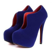 Blue Suede Style Stiletto Heel with Curve Side Detail