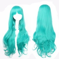Special Turquoise Green 80CM Lolita Anime Long Curly Party Cosplay Hair Full Wig + Wig Cap
