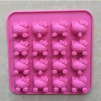 16 holes Mini cartoon hello kitty silicone chocolate Mold fondant Cake tools Baking Pan Jelly Pudding Mould