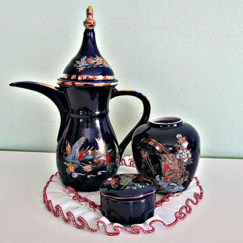 Fantastic Set of Japanese Cobalt Blue Porcelain, Hand Decorated