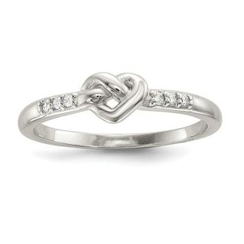 Sterling Silver CZ Lined Heart Love Knot Ring