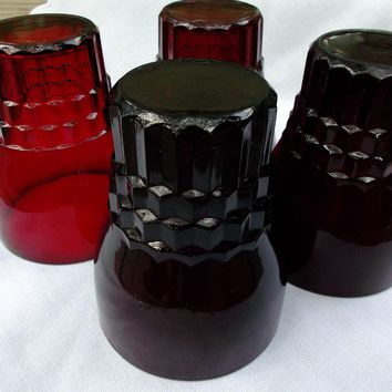 Vintage Anchor Hocking Glass Royal Ruby Tumblers Set of Four
