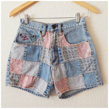 Vintage 90s Patchwork Bandanna Faded Worn Cotton Womens Jean Shorts Pepe Jeans Size 5/6