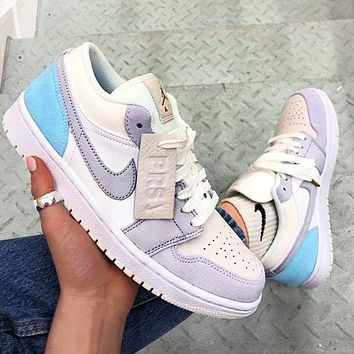 NIKE AJ AIR Jordan1 Low tops sneakers Basketball shoes grey Light blue high quality