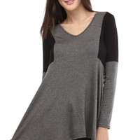 Long Sleeve Colorblocked Tunic Top