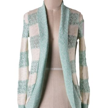 Coast is Clear Mint and Ivory Striped Cardigan