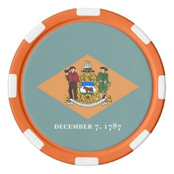 Patriotic poker chips with Flag of Delaware
