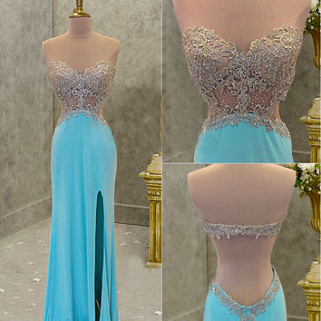 Strapless Prom Dress,Blue Prom Dresses,Long Evening Dresses