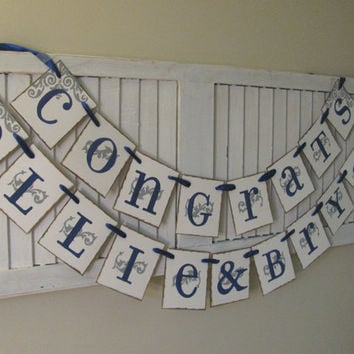 Wedding Banner Garland Bunting Personalized Congrats Banner for Bride and Groom Custom Names and Colors