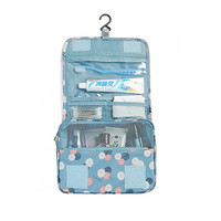 Blue Daisy Floral Portable Hanging Toiletry Bag/ Portable Travel Organizer Cosmetic Bag for Women Makeup or Men Shaving Kit with Hanging Hook for vacation LXB-0014
