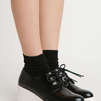 Faux Leather Flatform Oxfords