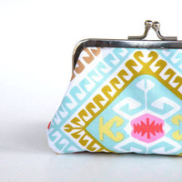 Colorful geometrical bluegreen  purseMother's day by craftsbynesli