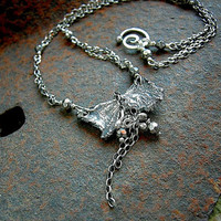 Sexy, Simple Sterling Necklace.Silver Butterfly.Sterling Chain.English Cut Glass Beads