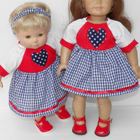 """18 Inch Doll Patriotic Dress Outfit, also fits 15"""" bitty baby, AG Doll Clothes, Patriotic USA Outfit Handmade adorabledolldesigns- red blue"""