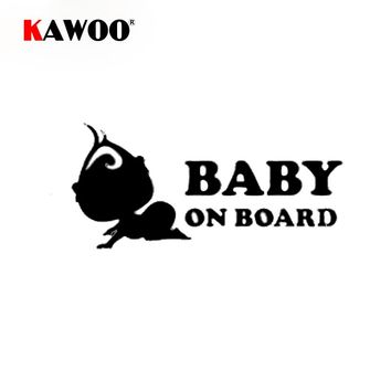 KAWOO 20*9CM Funny Stickers Baby On Board Car Rear Windshield Truck Bumper Auto Body Vinyl Sticker Decal Car Styling Decoration