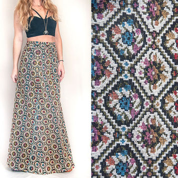 70s High Waisted Hippie Tapestry Skirt Boho Chic Maxi | Womens Small S or XS | Long Gypsy Bohemian 1970s 60s Gypset Style | Unique Ethnic