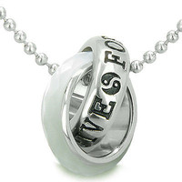Positive Forever Eternity Double Rings Yin Yang Symbol Amulet Faceted White Cats