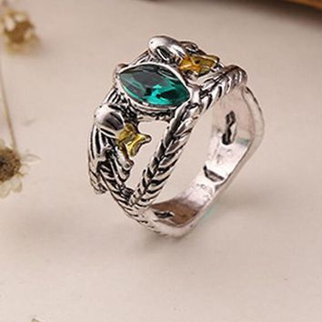 The Aragorn's Lord Ring of Barahir One Ring Drop Zircon Opal Rings For Men Vintage Fashion Black Gold Filled Ring