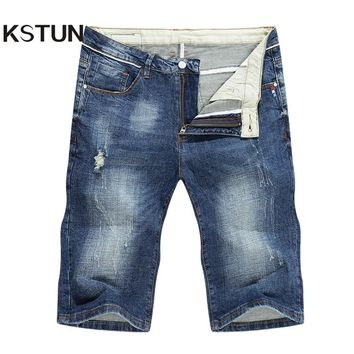 KSTUN Mens Biker Jeans Ripped Skinny Shorts Breeches Patches High Stretch Streetwear Americana Hombre Casual Vintage Pants Denim