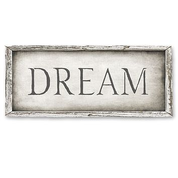 Rustic Wood Framed Shelf Art - DREAM - 15-in