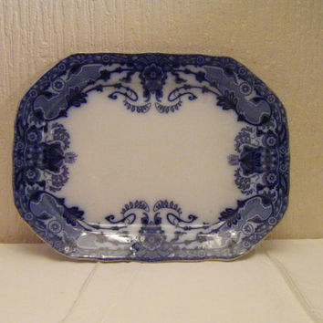 Flow Blue Raleigh Redg nr 303237 1902 Oblong Serving Plate with Gold Gilded Edged